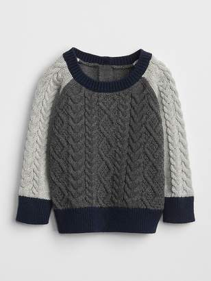Gap Cable-Knit Colorblock Sweater