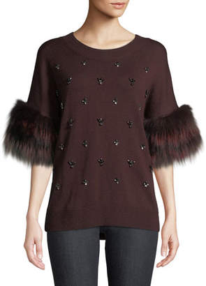 Kobi Halperin Denise Fur-Trim Half-Sleeve Sweater