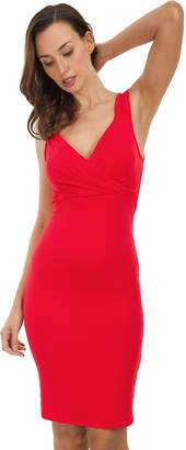 Missufe Women's Sleeveless Shirring Cross V Neck Knee Length Sheath Bodycon Tank Dress (, S)