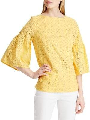 Chaps Eyelet Bell-Sleeve Cotton Top