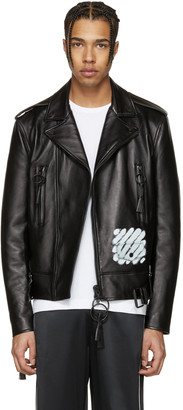 Off-White Black Leather Diagonal Carryover Biker Jacket $2,530 thestylecure.com