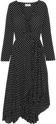 Zimmermann - Asymmetric Polka-dot Crepe Wrap Midi Dress - Black $695 thestylecure.com