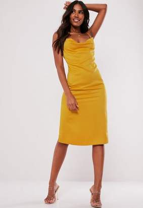 Missguided Yellow Strappy Cowl Midi Dress