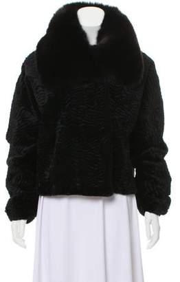 Adrienne Landau Sheared Fur Long Sleeve Jacket