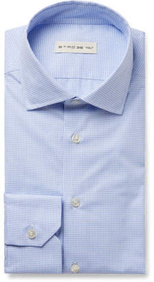 Etro Light-Blue Slim-Fit Puppytooth Cotton-Poplin Shirt