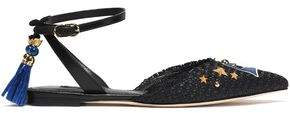 Dolce & Gabbana Embellished Leather And Woven Raffia Point-Toe Flats