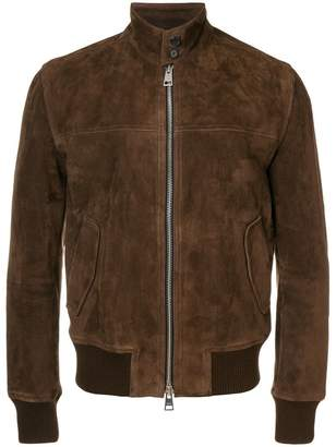 Ami Alexandre Mattiussi suede zipped jacket Harrington collar