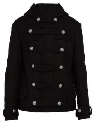 Balmain Hooded Wool Blend Coat - Mens - Black