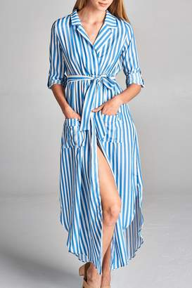 Racine Stripe Waist-Tie Kimono-Wrap