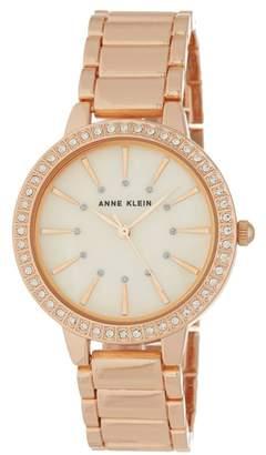 Anne Klein Women's Round Case Rose Gold-Tone Bezel Crystal Bracelet Watch, 34mm