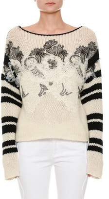 Ermanno Scervino Long-Sleeve Floral-Embroidered Sweater with Lace Trim