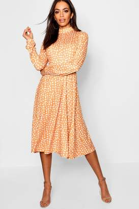4aed53fb690 boohoo High Neck Long Sleeve Dalmatian Print Midi Dress