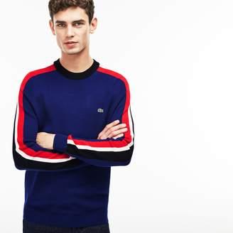 Lacoste Men's Crew Neck Ribbed Wool Colorblock Stripe Sweater