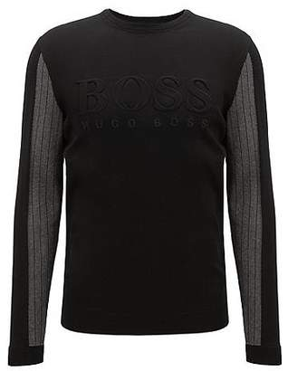 HUGO BOSS Crew-neck sweater with embossed logo and tonal details