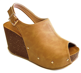 Taupe Studded Mara Wedge Sandal $43.75 thestylecure.com