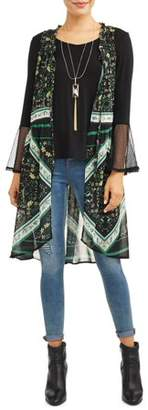Tru Self Women's Long Vest 2fer With Shirt and Necklace