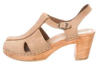 NO.6 STORE Suede Round-Toe Clogs Nude Suede Round-Toe Clogs