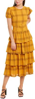ENGLISH FACTORY Tiered Ruffle Midi Dress