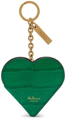 Mulberry Heart Portrait Keyring Red Berry Croc Print