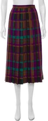 Christian Dior Pleated Wool Midi Skirt