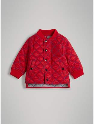 Burberry Topstitched Quilted Jacket , Size: 2Y, Orange