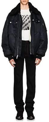Calvin Klein Men's Shearling-Lined Oversized Bomber Jacket - Black