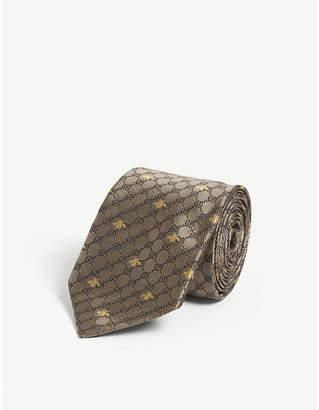 Gucci Bee-print silk tie