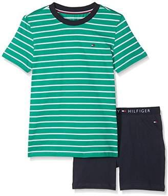 Tommy Hilfiger Boy's Short Set Ss Stripe Pyjama (Green Lake/Navy Blazer 926), (Size: 6-7)
