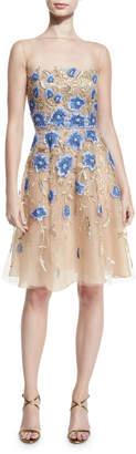 Naeem Khan Floral-Applique Illusion Cocktail Dress. Gold/Blue