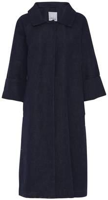 Mcverdi Cotton Coat With Belt In Marine Blue