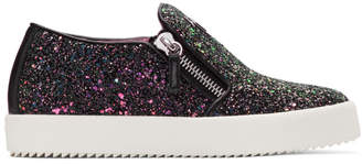 Giuseppe Zanotti SSENSE Exclusive Black Glitter May London Slip-On Sneakers