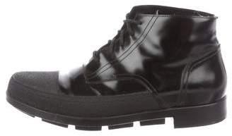 Balenciaga Leather Cap-Toe Boots