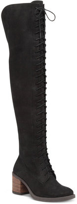 Lucky Brand Women's Riddick Lace-Up Over-The-Knee Boots $249 thestylecure.com