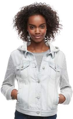 Mudd Juniors' Knit Sleeve Hood Jean Jacket