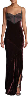 Olivier Theyskens Corset-Bodice Sleeveless Bias-Seam Velvet Column Evening Gown