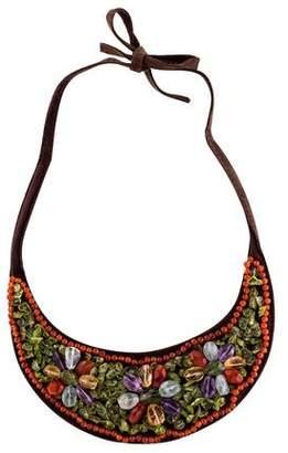 Kenzo Multistone Leather Bib Necklace