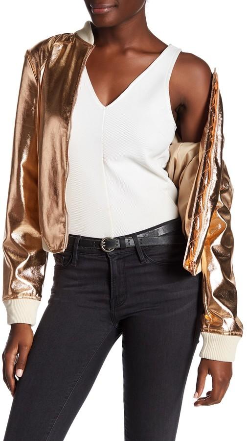 BagatelleBagatelle Faux Leather Metallic Bomber Jacket