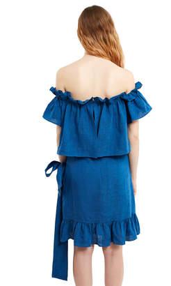 Goen.J Off-The-Shoulder Linen Wrap Dress