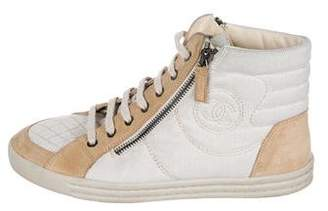 Chanel Quilted High-Top Sneakers