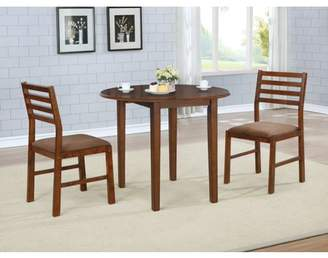 Nathaniel Home 3Pcs Solid Oak Wood Round Dining Set With Brown Color Seats