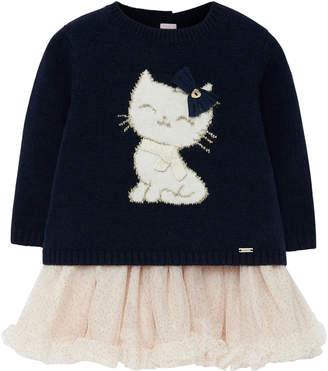 Mayoral Girl's Cat Knit Sweater Dress w/ Tulle Skirt, Size 6-36 Months