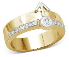 Love and Pride 14K White Gold & 14K Yellow Gold Diamond Male Insignia Combination Ring
