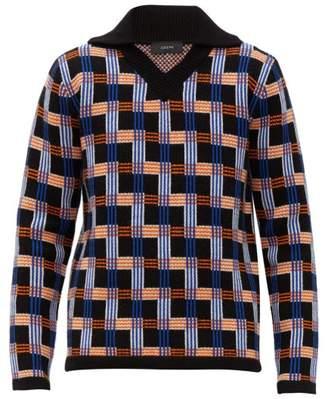 Joseph V Neck Checked Intarsia Wool Sweater - Mens - Black Multi