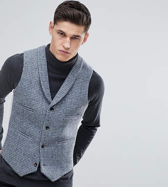 Asos DESIGN TALL Slim Vest in Harris Tweed 100% Wool Light Gray Check