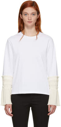 3.1 Phillip Lim White Long Sleeve Pleated Cuff T-Shirt