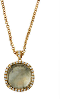 Marco Bicego Jaipur 18k Gold Green Amethyst & Diamond Pendant Necklace