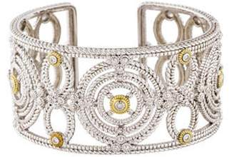 Judith Ripka Diamond Garland Wide Kick Cuff silver Diamond Garland Wide Kick Cuff