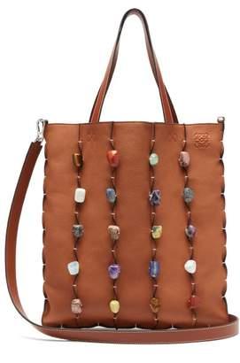 Loewe Stone Embellished Leather Tote Bag - Mens - Tan