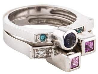 Ring 14K Pink Sapphire, Iolite & Diamond Set
