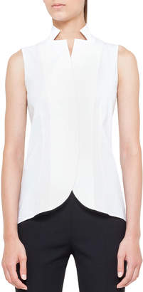 Akris Notched Stand-Collar Sleeveless Button-Front Blouse